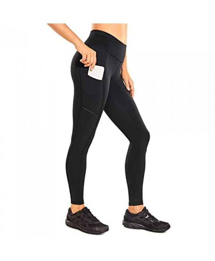 CRZ YOGA Women's High Waisted Compression Leggings with Pockets Hugged Feeling Workout Pants -28 Inches