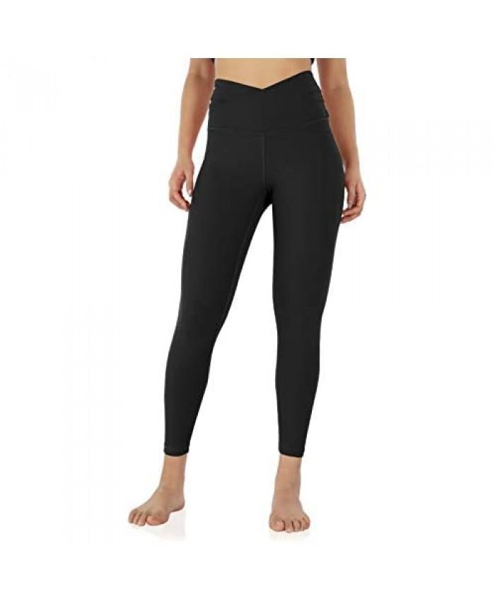 ODODOS Women's Cross Waist 7/8 Yoga Leggings with Inner Pocket Workout Running Tights Yoga Pants -Inseam 25