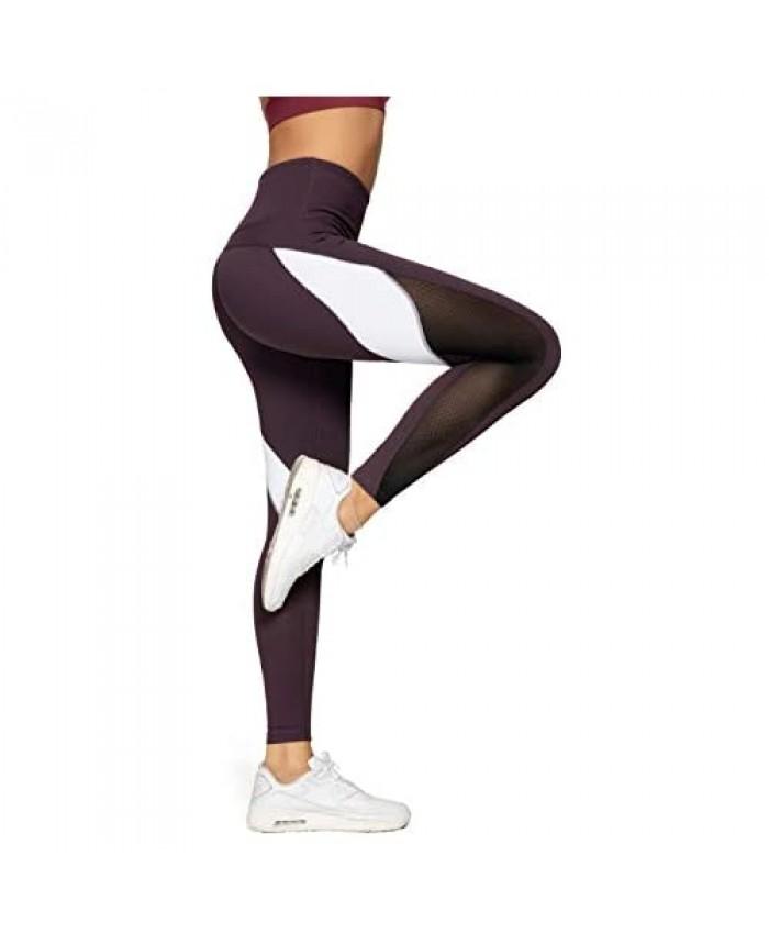 QUEENIEKE Women Yoga Pants Color Blocking Mesh Workout Running Leggings Tights