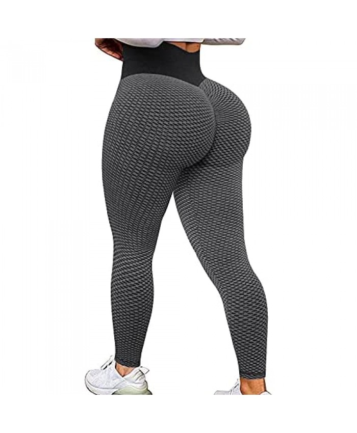 TIK Tok Leggings for Women Booty Lift High Waist Anti Cellulite Texture Butt Ruched Workout Gym Yoga Pants