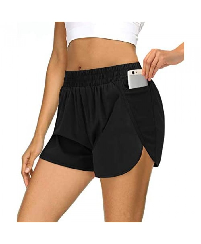 MEROKEETY Womens Athletic Quick-Dry Workout Shorts Elastic Waist Dolphin Running Pockets Shorts
