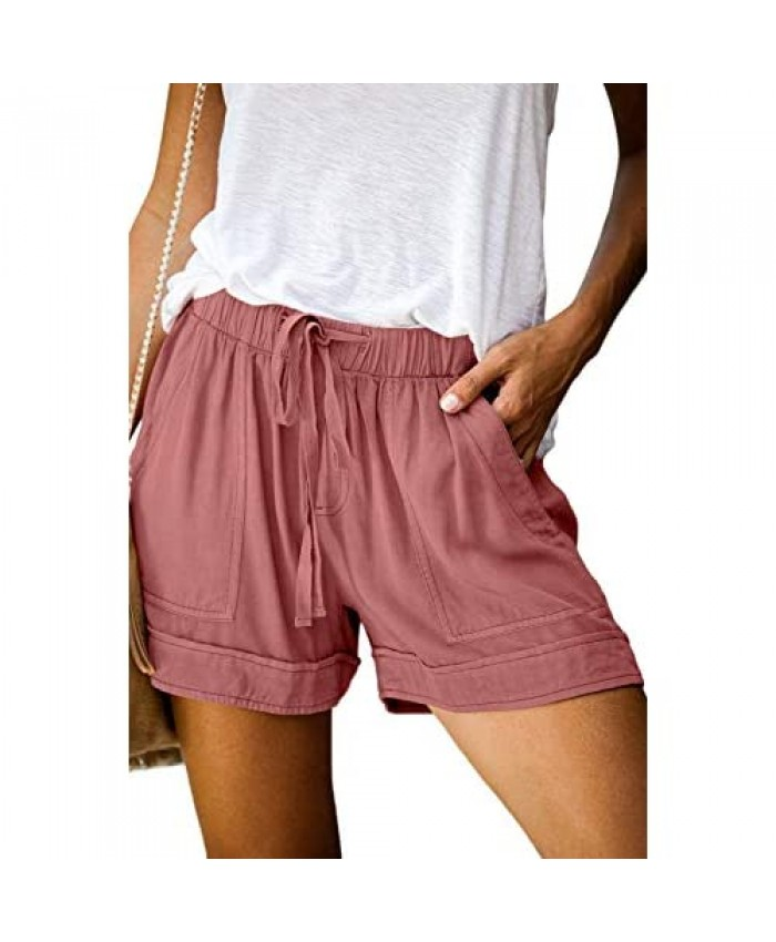 MEROKEETY Women's Elastic Waist Drawstring Belt Solid Color Comfy Shorts with Pockets