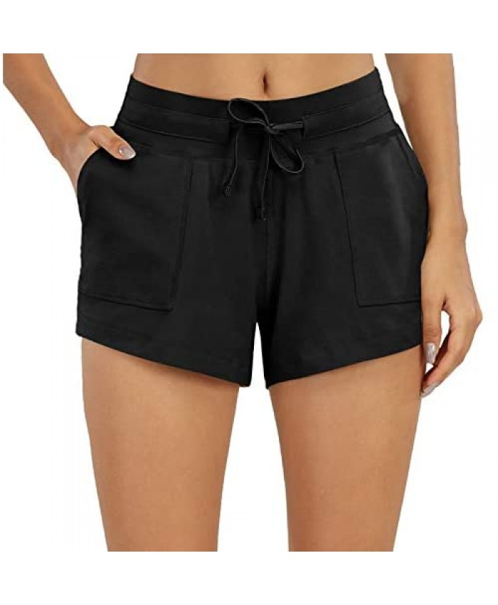 Nomolen Women's 3 Workout Lounge Shorts Cotton Yoga Gym Athletic Running Activewear Sweat Shorts with Pockets