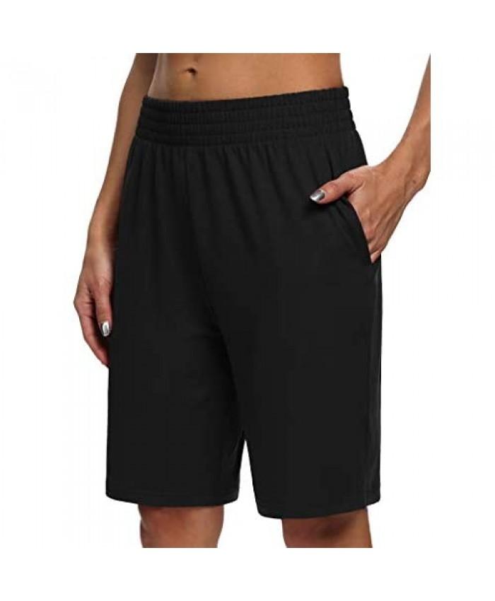 Sarin Mathews Womens Yoga Shorts Athletic Loose Comfy Lounge Shorts Running Workout Pajama Bermuda Shorts with Pockets