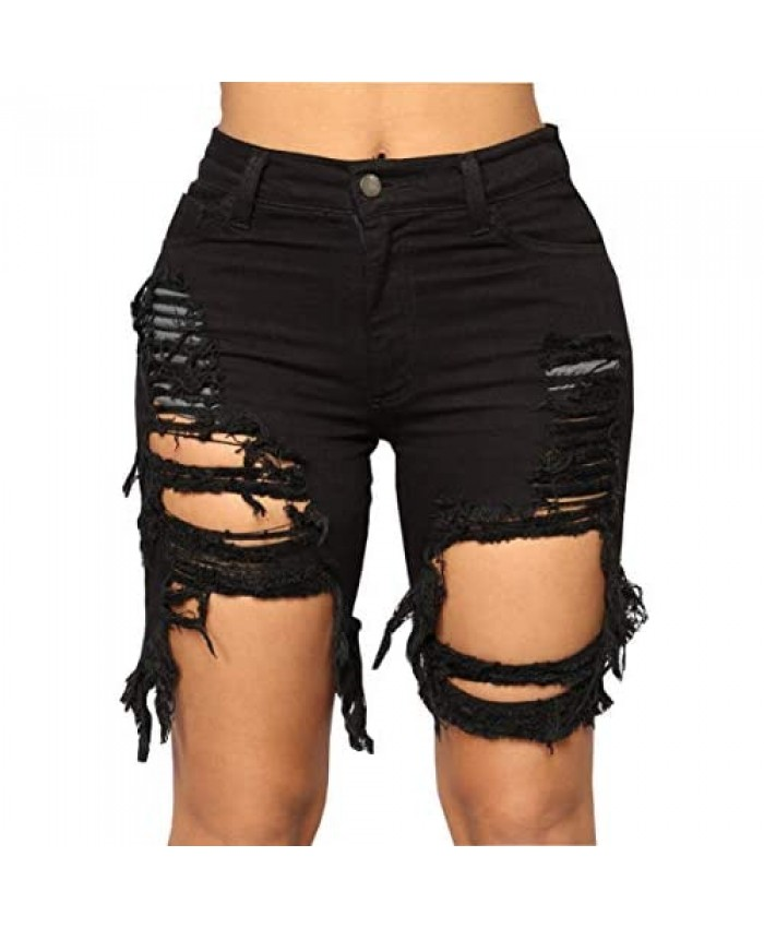 XIAXAIXU Womens Mid Rise Stretch Ripped Denim Destroyed Workout Running Cycling Jeans Shorts
