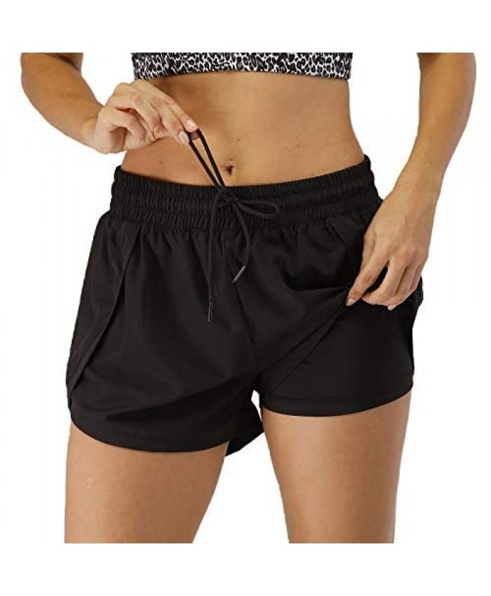 YOIYEN Women's Sport Running Shorts Double Layer Quick Dry Workout Athletic Gym Yoga Shorts