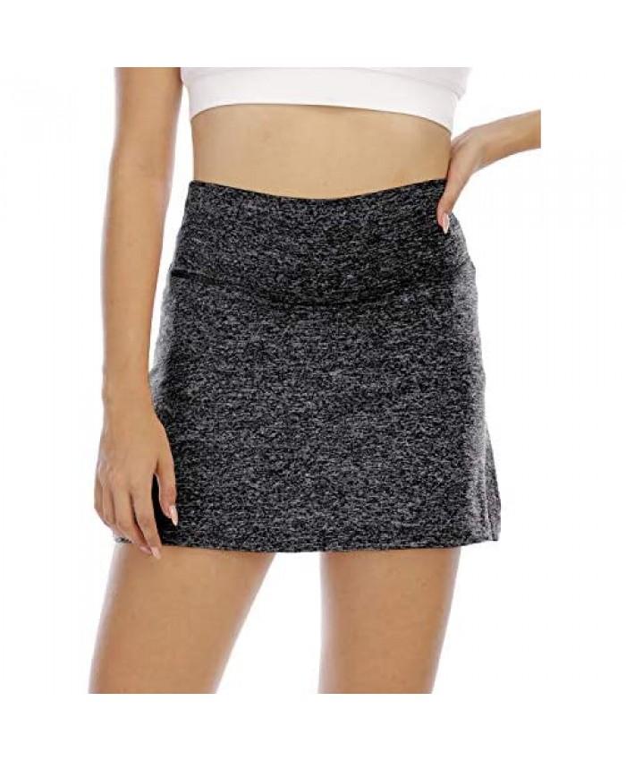Cucuchy Womens Tennis Skirts Golf Short Skorts High Waist with Inner Pockets