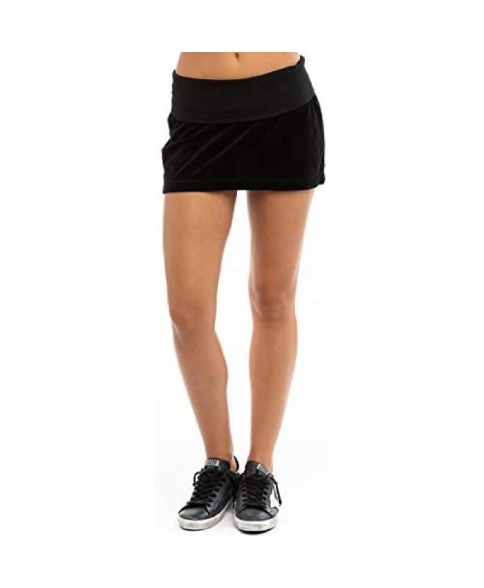 Hard Tail Women's Rolldown Velour Mini Skirt Style V121