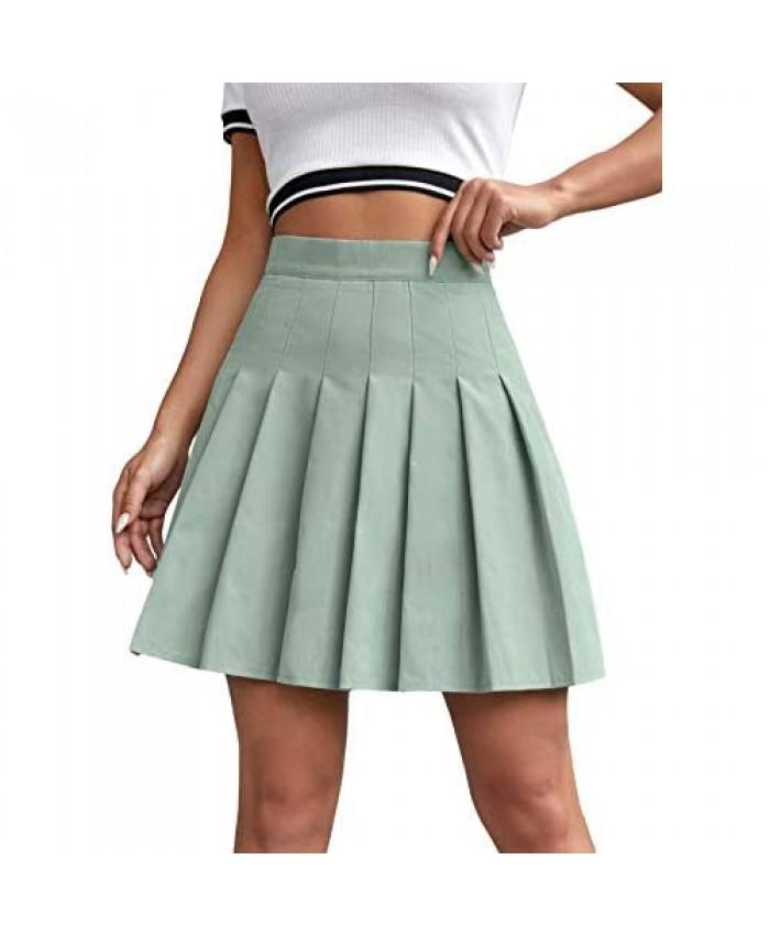 Milumia Women Pleated High Waisted Short Skirt Side Zipper A Line Tennis Skirt