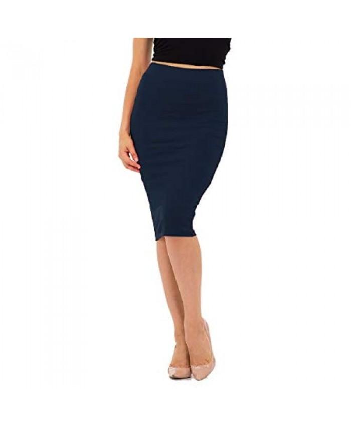 NANAVA Women's Basic Cotton Slim Fit Knee Length Skirt