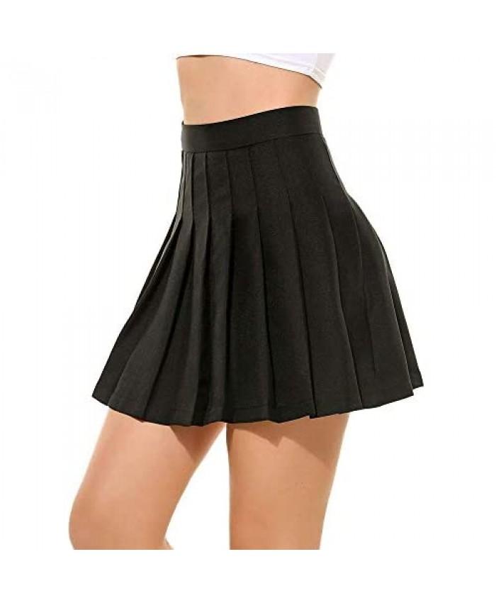 Women's High Waisted Pleated Skater Teen Girls A-line Short Mini Skirt Tennis School Skirt Uniform with Lining Shorts