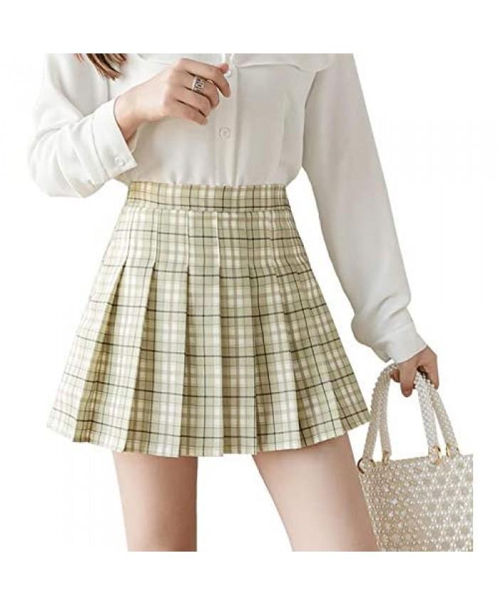 Women's Pleated Mini Skirt Skater Tennis Skirts High Waisted A Line Skorts School Girl Uniform with Shorts
