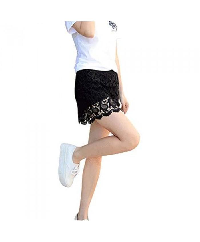 Kangqifen Womens Summer Shorts with Skirt Lace Cotton Skorts Black M - 2XL
