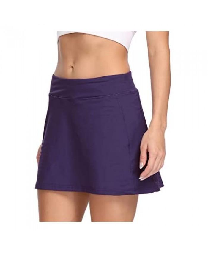 LastFor1 Women's Athletic Tennis Skorts Active Lightweight Skirts with Hidden Pockets for Golf Workout Running Training