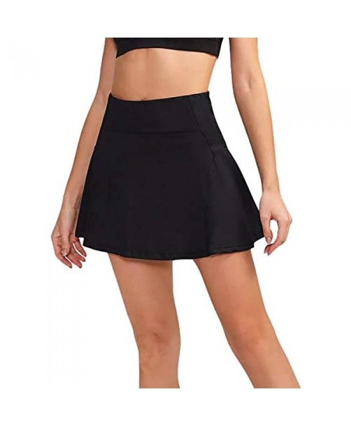 TOPMELON Women's Tennis Skort Quick Dry Yoga Skirt Ruffle Workout Running Golf Skirts with Secure Inner Shorts Pockets