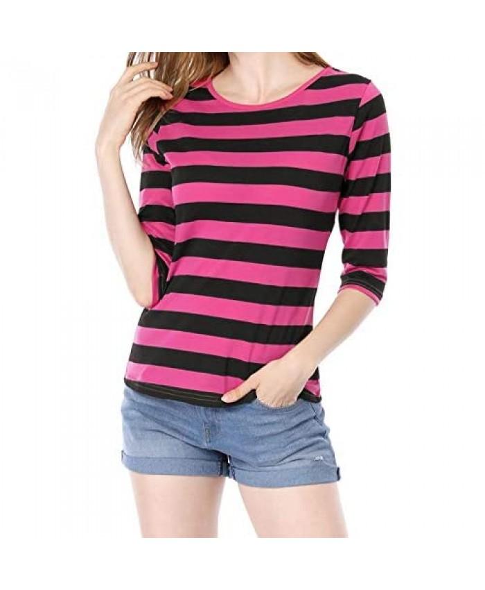 Allegra K Women's Elbow Sleeves Top Round Neck Slim Fit Tee Casual Printed T-Shirt
