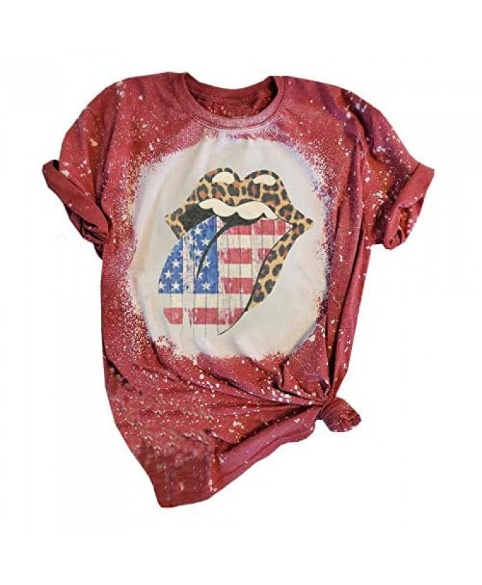 American Flag Bleached T-Shirt Women 4th of July Patriotic Shirt Funny Leopard Lips Stars Stripes Graphic Tee Tops