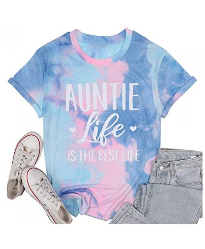 Auntie Life is The Best Life Women Tshirts Funny Heart Graphic Casual Cool Aunt Vibes Tees