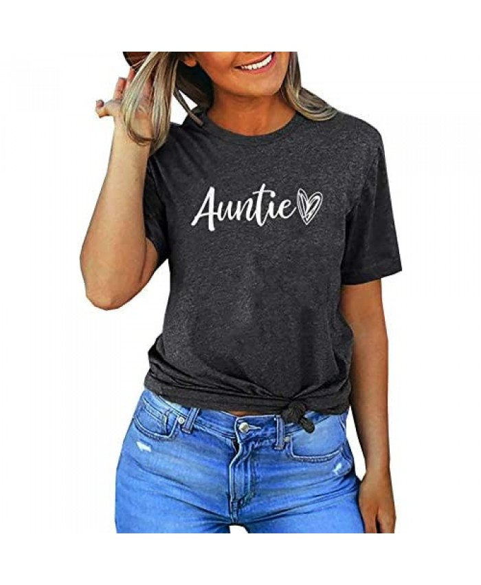 Auntie Shirt for Women Aunt Life Shirts Casual Aunt T Shirt Tops Tees