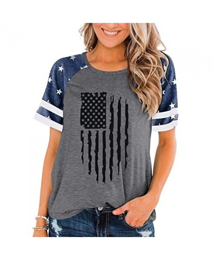 BANGELY American Flag T Shirt Women Stars Stripes 4th of July Shirt Raglan Short Sleeve Graphic Patriotic Top Tees