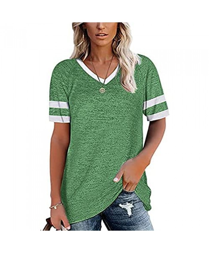 Bequemer Laden Women's Short Sleeve V Neck T-Shirts Summer Loose Tunics Tops Casual Tee Blouses