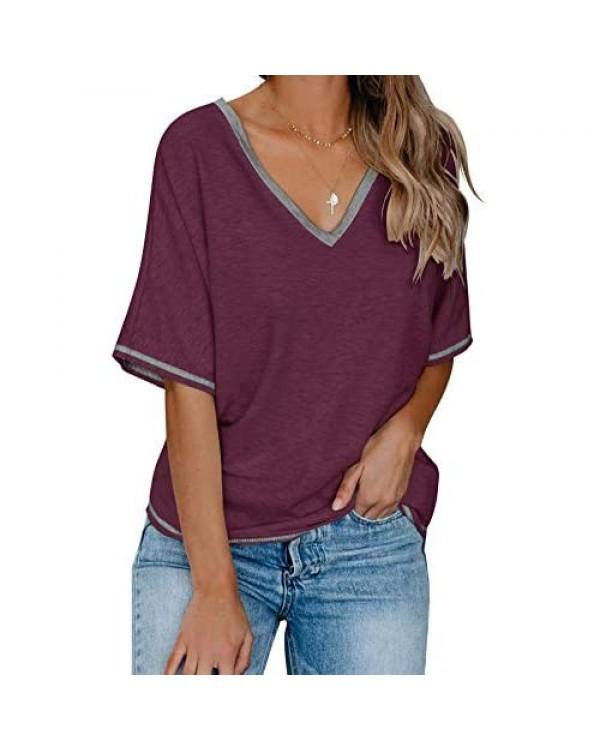 Bingerlily Womens Summer Casual T Shirts Short Sleeve Colorblock Cute Tops V Neck Loose Tees