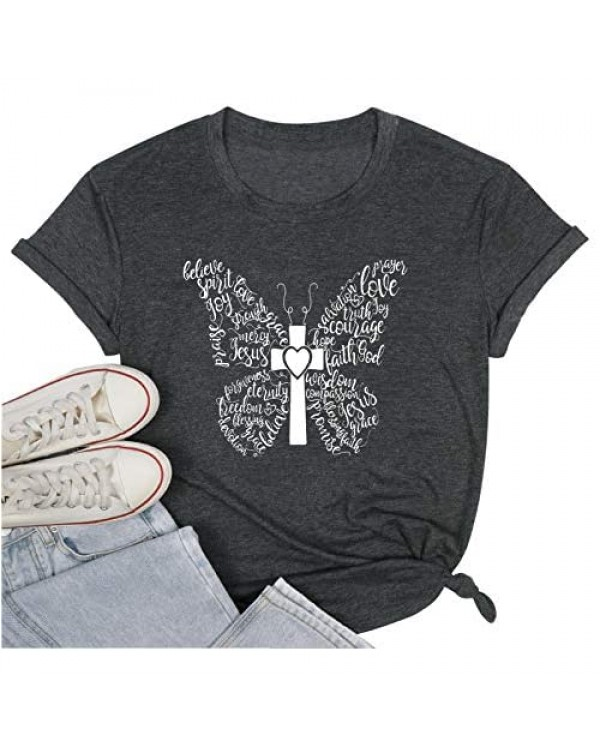 Butterfly Shirt Positivity T-Shirt for Women Funny Letter Print Shirts Cute Religious Graphic Christian Tee Tops