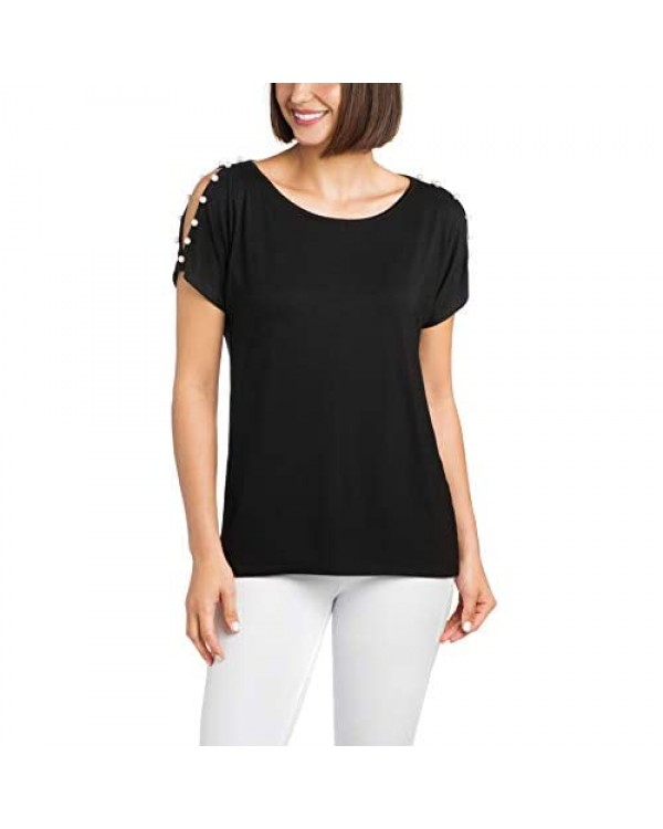 Cable & Gauge Womens Apparel Boat Neck Cold Shoulder with Pearl Sleeve Detail