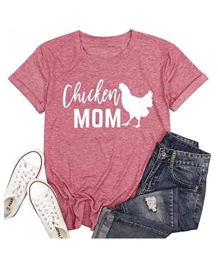 Chicken Mom T-Shirt Women Funny Hen Chiken Farm Humor Graphic Mother Shirt Cute Short Sleeve Tops