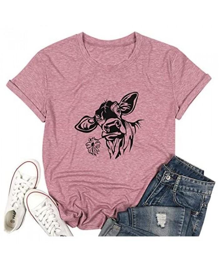 Cow Tshirt Womens Fun Animal Graphic Tees Casual Short Sleeve Summer Cute T-Shirt Farmer Tops