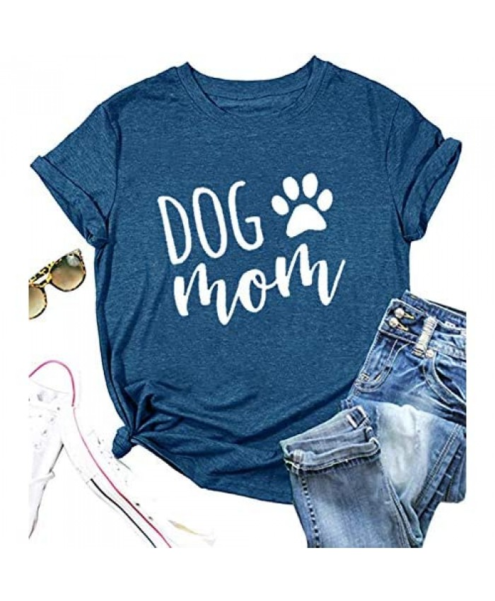 Dog Mom Shirts for Women Funny Dog Paw Print Graphic T Shirt Casual Letter Short Sleeve Mama Tee Tops