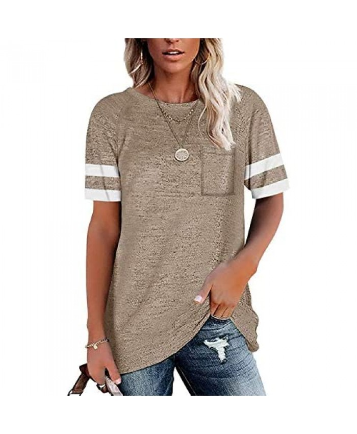 Ebifin Womens Short Sleeve T Shirts Loose Tunic Tops Crewneck Color Block Casual Tee Shirts Blouses with Front Pocket