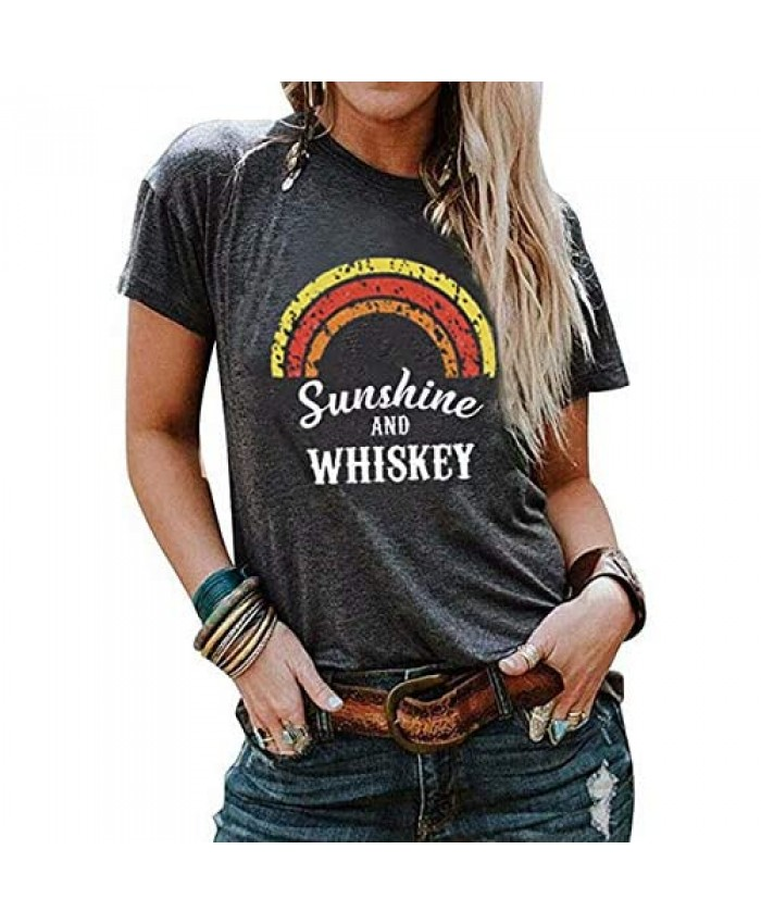 EGELEXY Sunshine and Whiskey T Shirt Women Summer Letter Print Beach Drinking Tees Casual Short Sleeve Vacation Shirts Top