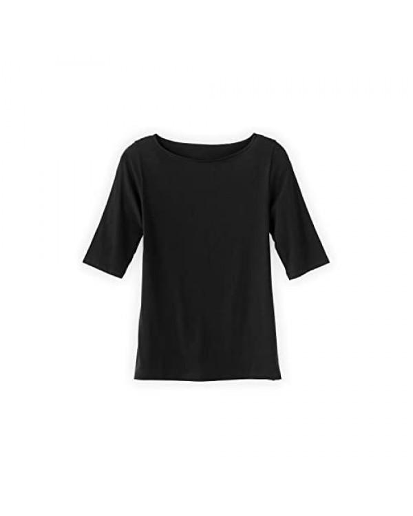 Fair Indigo Women's Organic Cotton Boat Neck T-Shirt