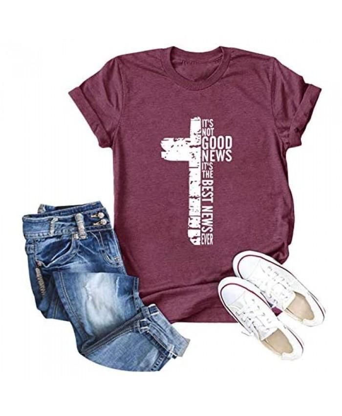 GEMLON Faith Cross Shirt Women Inspirational Christian T-Shirt Casual Short Seeve Graphic Cute Tops