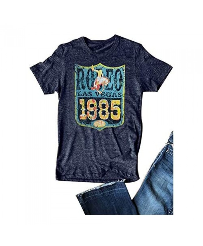 GEMLON Retro Rodeo Graphic Tees Vintage Cowgirl Shirt for Women Short Sleeve Western Tee Shirts