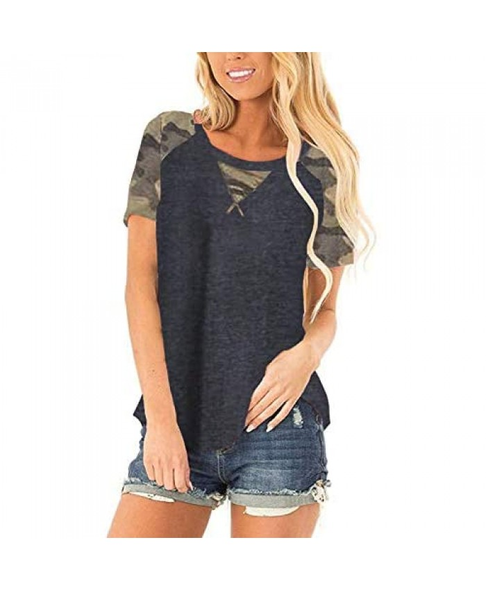 Halife Women's Summer Color Block Raglan Short Sleeve Tunic Shirts Tops Casual Loose T Shirts Blouse