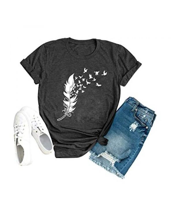 HDLTE Women Feather Birds T-Shirt Casual Short Sleeve Graphic Summer Top Tee