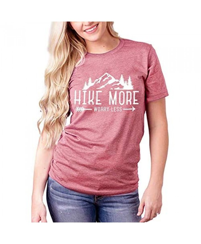 HEBBE Hike More Worry Less Camping Shirt Happy Campr Vacation Tees Tops Women Letter Print Casual Mountain Climbing Shirt