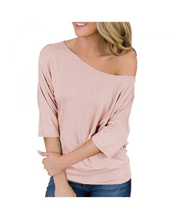 Hilltichu Womens Summer Off Shoulder Tops Casual Half Sleeve Shirts