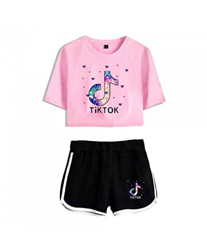 IIOGO Women's Fashion T-Shirt with Shorts 2pcs Set of Tracksuit Sportwear Suit for Girls Ladies