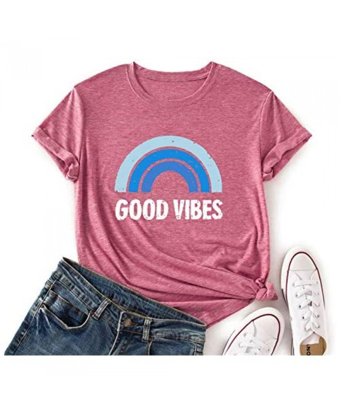 JTJFIT Good Vibes Womens T-Shirts Short Sleeve Funny Rainbow Print Cute Graphic Tee Tops