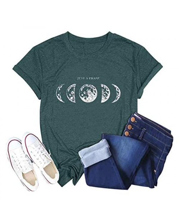 Just A Phase Moon Graphic T-Shirts Women Half Full Moon Tees Tops Casual Short Sleeve T Shirt
