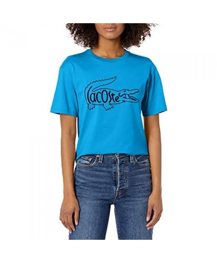 Lacoste Women's Short Sleeve Big Croc Animation Graphic T-Shirt