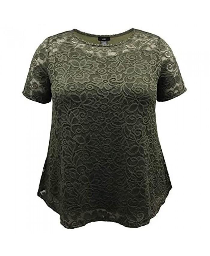 LEEBE Women's Plus Size Lace Top (1X-5X)