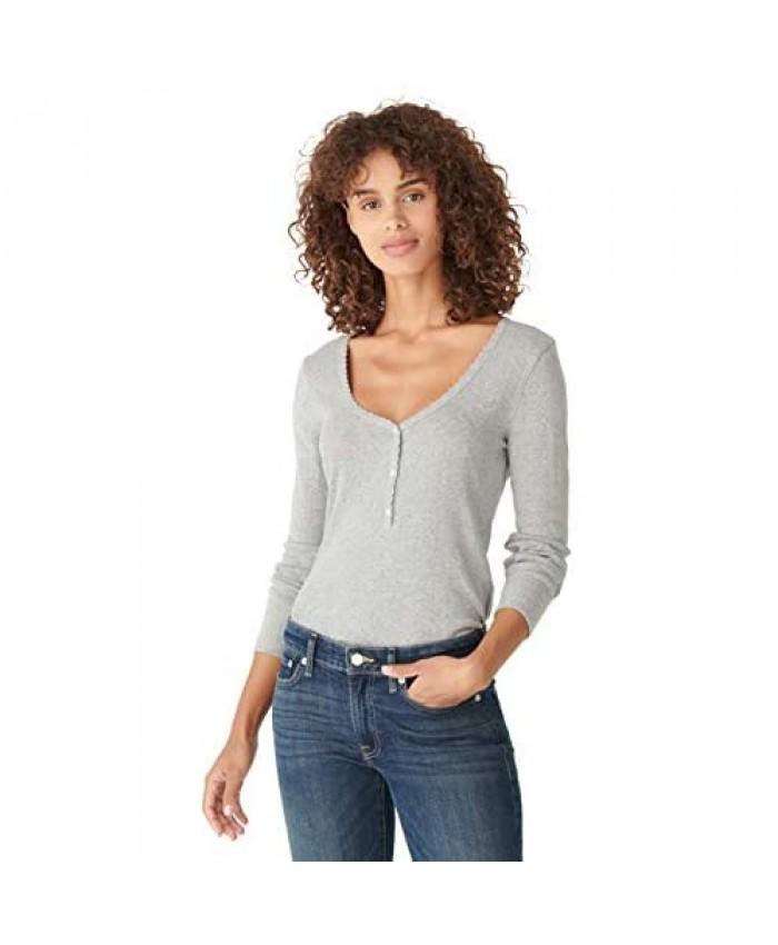 Lucky Brand Women's Long Sleeve Scoop Neck Printed Henley Top