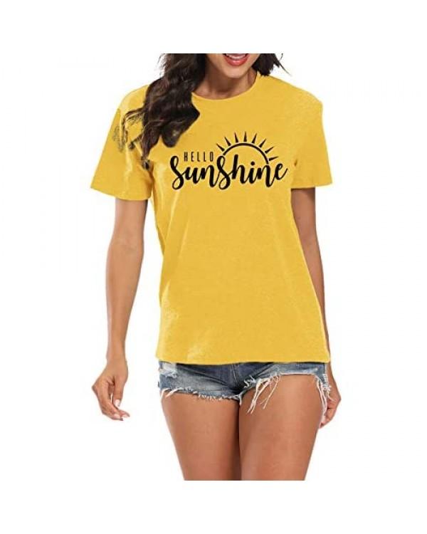 LUKYCILD Hello Sunshine Women T-Shirt Summer Short Sleeve Casual Letter Print Top
