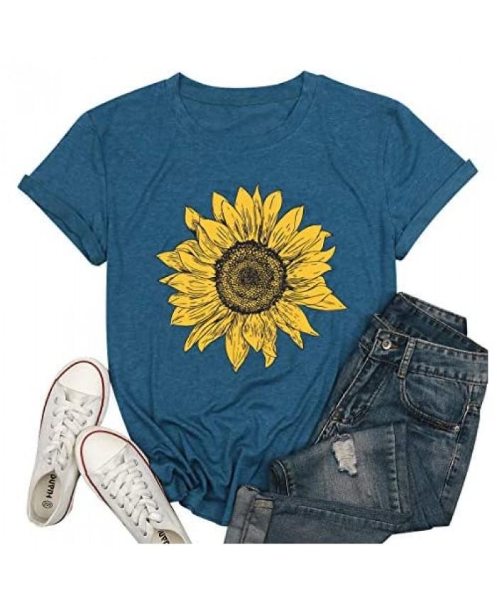 LUKYCILD Women Sunflower Print Shirt Cute Graphic Short Sleeve T-Shirt Summer Casual Round Neck Faith Tee Tops