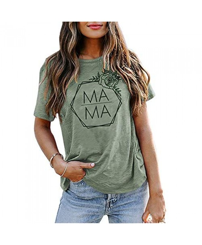 Mama Flower Shirt Women Casual Graphic Tees Mom Life T Shirts Letter Print Short Sleeve Tops