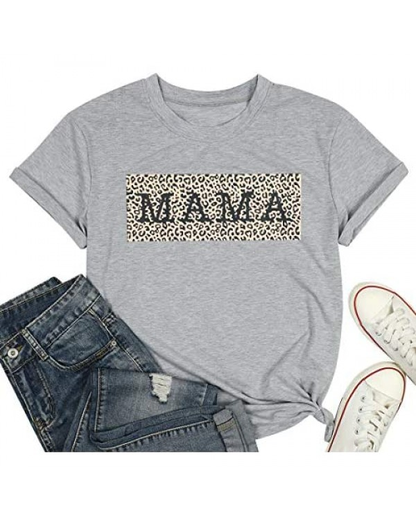 Mama Shirts Leopard Mom Shirt for Women Cute Leopard Graphic Mom T Shirt Funny Mother Life Tee Tops